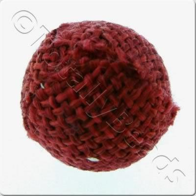 Weaved Hatch Bead - Dark Red