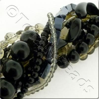 12 Strings Glass Bead Mix - Black & Grey