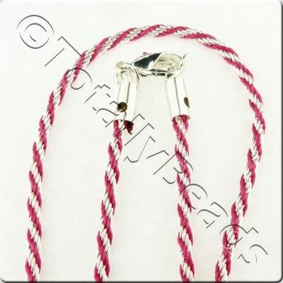 Woven Thread Chain Necklace - Fuchsia and Silver
