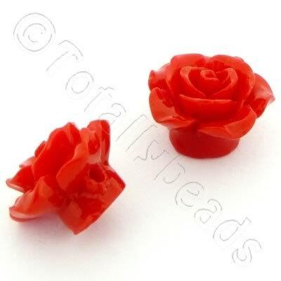 Acrylic Rose 15mm 1 Row - Red 4pcs