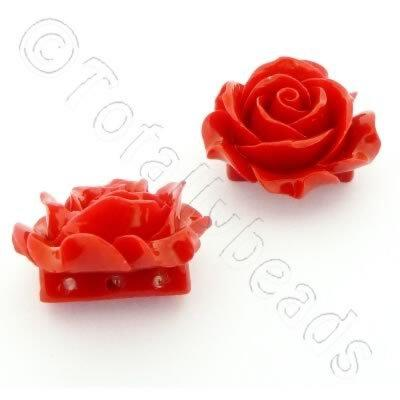 Acrylic Rose 35mm 3 Rows - Light Red