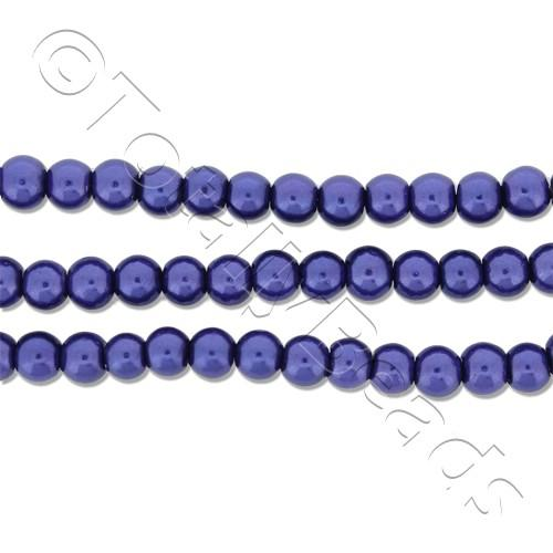 Glass Pearl Round Beads 3mm - Cobalt Blue