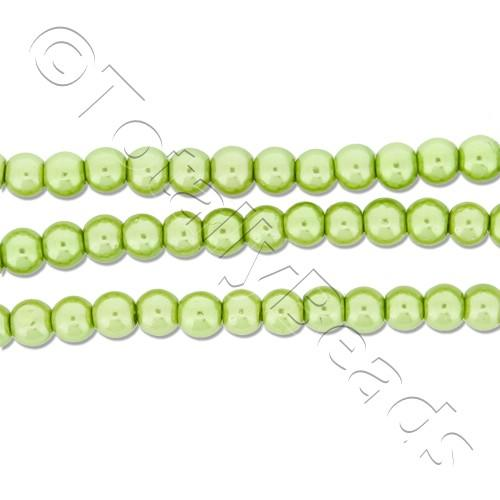 Glass Pearl Round Beads 3mm - Light Olive
