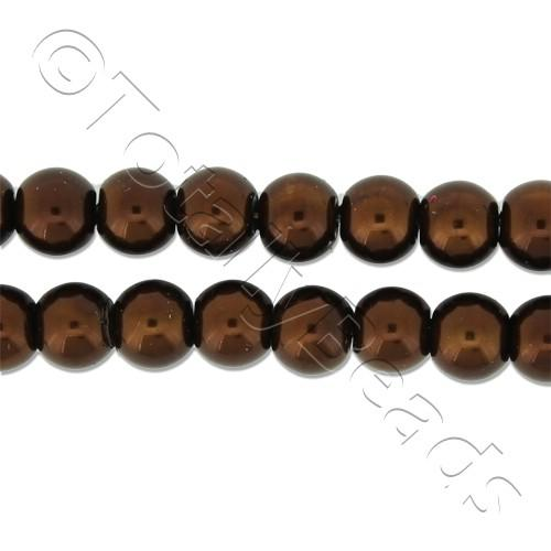 Glass Pearl Round Beads 6mm - Bronze