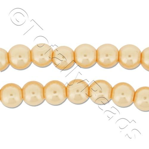 Glass Pearl Round Beads 6mm - Peach