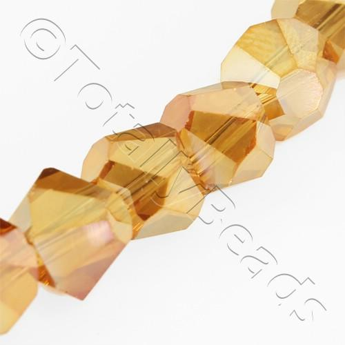 Crystal Bicone 8mm Diagonal - Dark Amber AB 15pc