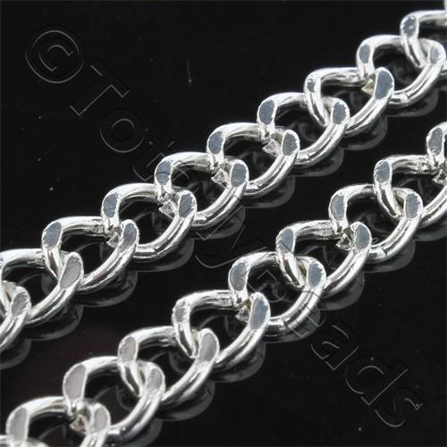 Chain Silver Plated - Oval Twist 6x6mm Heavy