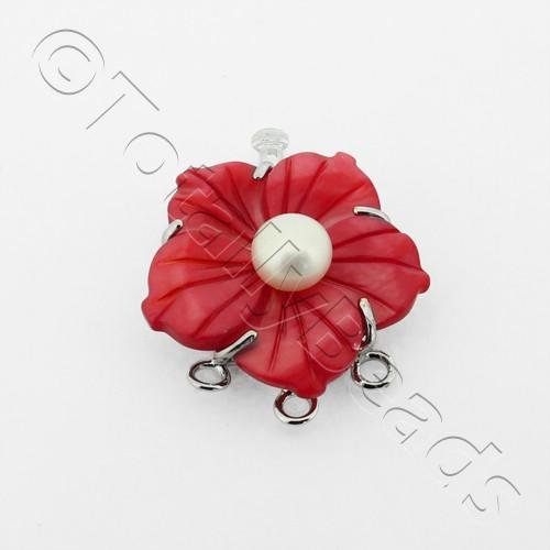 3 Row Connector Box Clasp Flower - Red