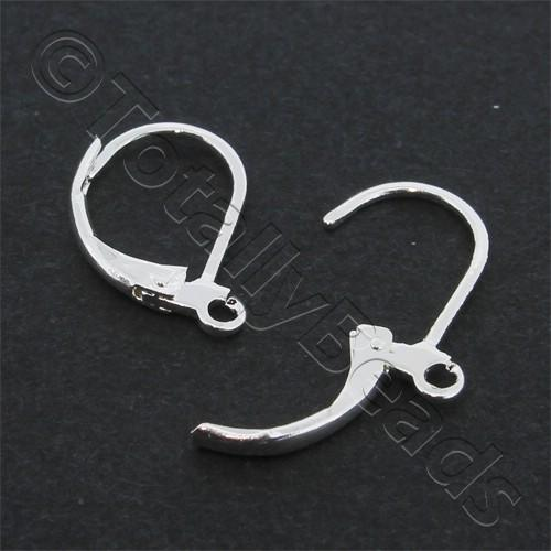 Earwire locking Hook 13mm - Silver Plated