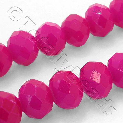 Crystal Rondelle 8x10mm - Neon Pink