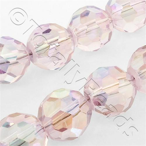 Faceted Glass 18mm Round - Pink AB