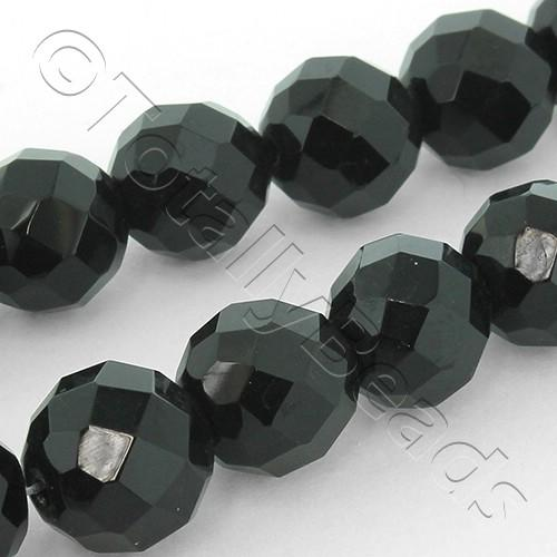 Faceted Glass 12mm Round - Jet Black