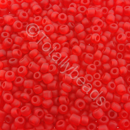 Seed Beads Transparent Frosted  Red - Size 8