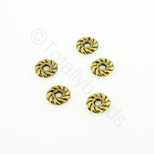 Tibetan Gold Bead - Roped Bead 6mm