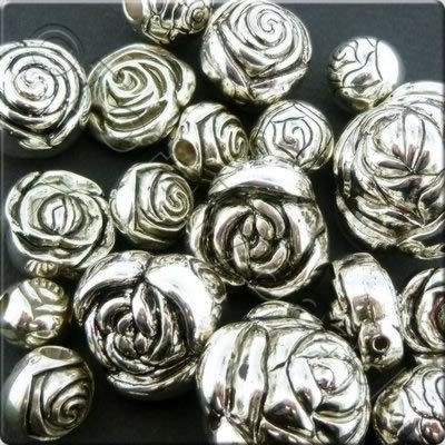 Acrylic Charms - Antique Silver - Rose
