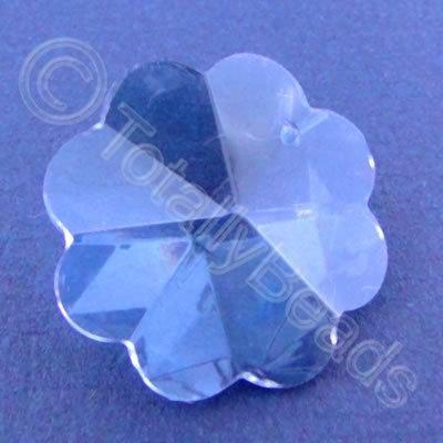 Glass Pendant Flower Blue - 26mm