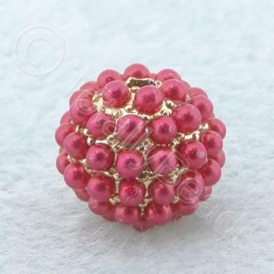 BeadyBall Bead - Gold and Red
