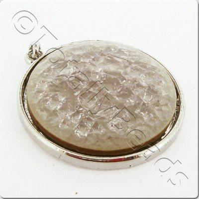 Ceramic Pendant Cracked Cabochon - Clear Pink