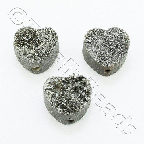 Druzy Bead Heart 12mm - Silver Plate