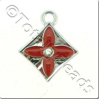 Enamel Charm - Diamond - Red