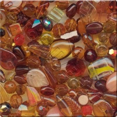 Mixed Glass Crystal Beads - Gold & Brown - 100g
