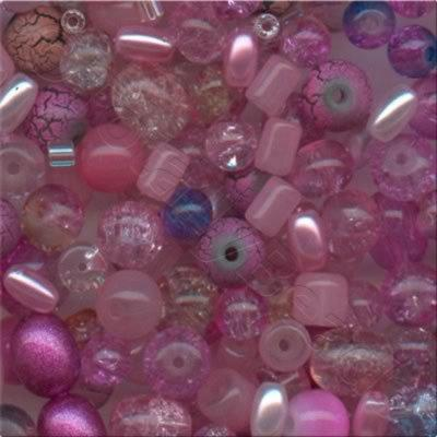 Mixed Glass Beads - Pink - Tube