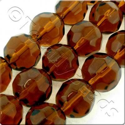 Glass Facet Round - 12mm - Dark Brown
