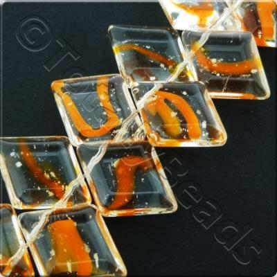 Glass Top Drilled Rhombus - 18x14mm - Clear-Orange Spotty- 28pcs