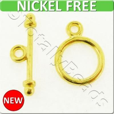 Gold Metal Toggle - Simple Ring 9mm 10 sets - A0815-G