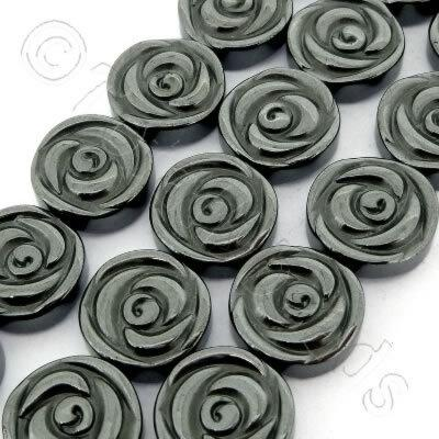 Hematite - Rose Disc 12mm