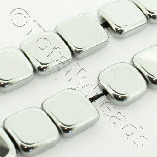 Hematite Flat Square 8mm - Silver Plated