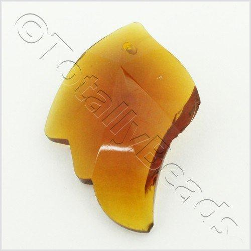 Glass Pendant Facet Leaf 27mm - Dark Amber