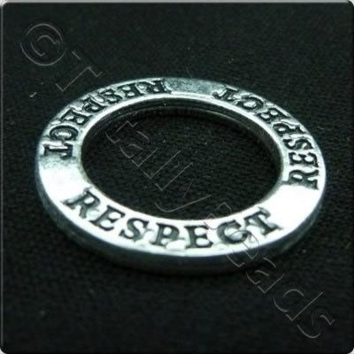 Tibetan Silver Message Ring - Respect