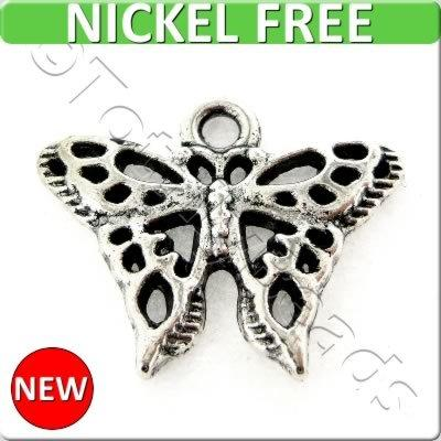 Antique Silver Metal Charm - Fil. Butterfly 18mm 15pcs - K1235