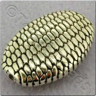 Acrylic Antique Silver Bead - Flat Oval Scale Pattern - 38mm
