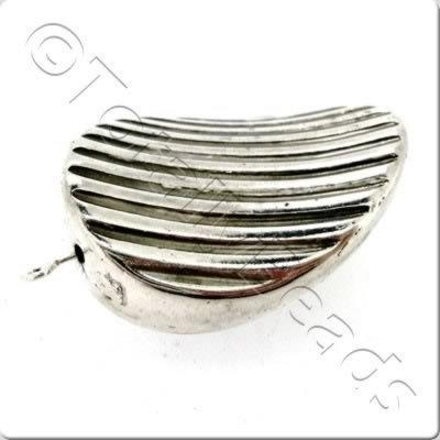 Acrylic Antique Silver Bead - 45mm Leaf Pattern