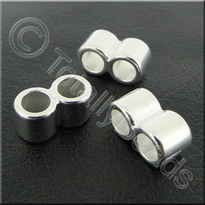 Acrylic Twin Barrel Bead 14mm -  Silver - 40pcs