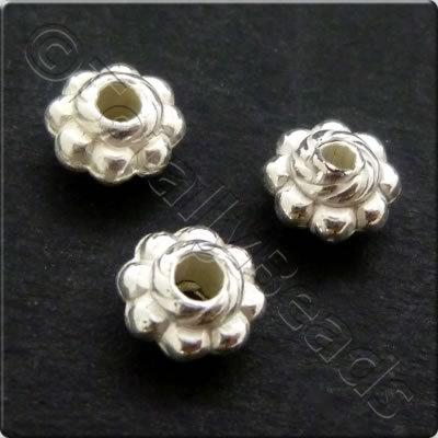 Metalised Acrylic Bead Flower 5.5x3mm - Silver 200pcs
