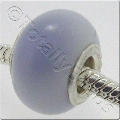 Large Hole Ceramic Bead - Cracked Clear Blue