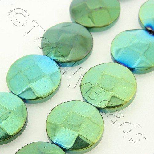 Hematite Facet Disc 12mm - Green Plated