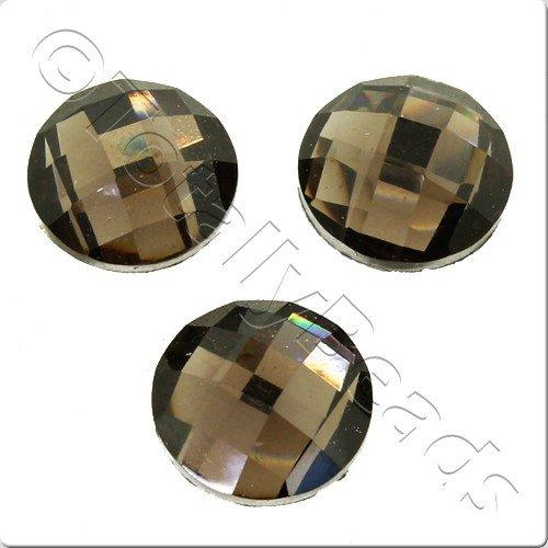 Resin Cabochon 10mm - Facet Black Diamond 10pcs