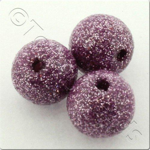 Resin Glitter Round 10mm Bead - Violet