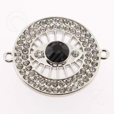 Metal Eye Connector 30mm - Crystal Rhinestone