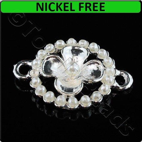 Silver Metal Connector Flower with Pearls 19x26mm 3pcs