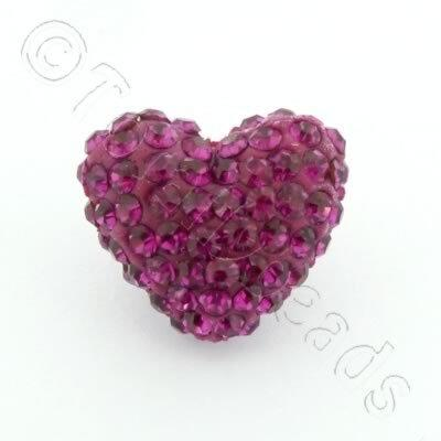 Shamballa Heart Bead - 20mm - Fuchsia