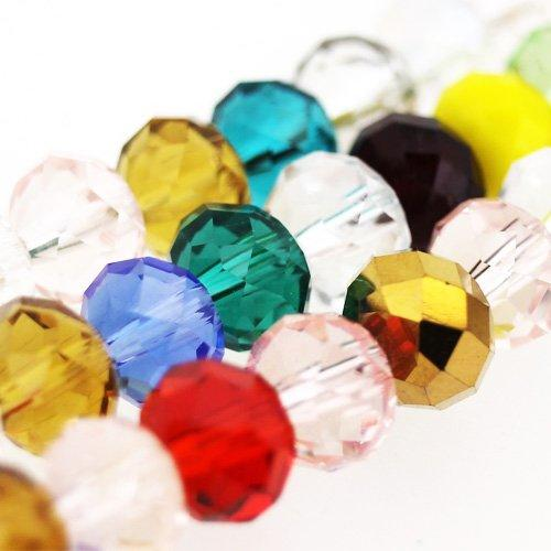 "Crystal Rondelle 6x8mm - Mixed String 16"" String"