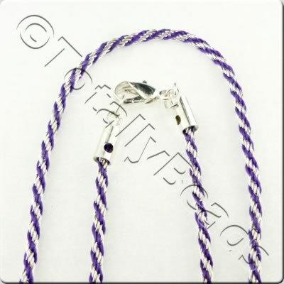 Woven Thread Chain Necklace - Purple and Silver
