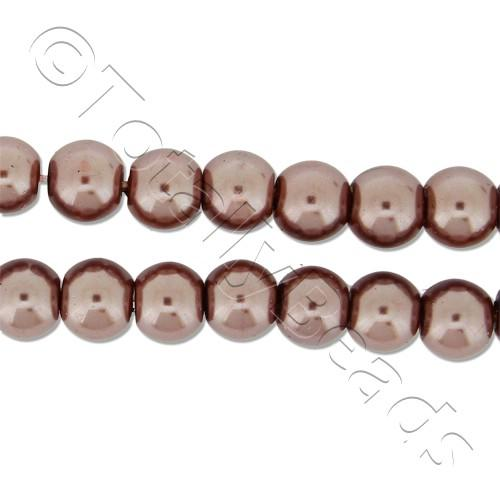 Glass Pearl Round Beads 6mm - Brown