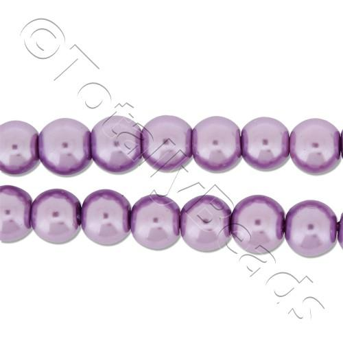 Glass Pearl Round Beads 6mm - Lavender