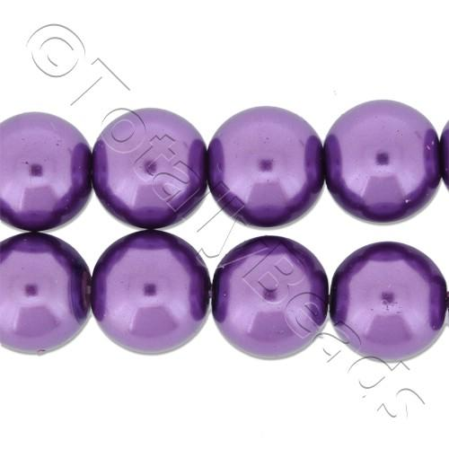 Glass Pearl Round Beads 10mm - Amethyst